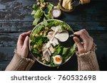 female hands powring dressing... | Shutterstock . vector #760532698