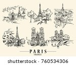 paris illustration. ink and pen ... | Shutterstock .eps vector #760534306