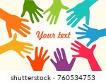 colorful up hands. vector... | Shutterstock .eps vector #760534753
