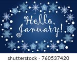 inscription hello  january in a ... | Shutterstock .eps vector #760537420
