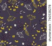 violet flowers pattern | Shutterstock .eps vector #760538278