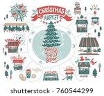 christmas market  fair  winter... | Shutterstock .eps vector #760544299