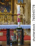 Small photo of Main Altar with Easter candle and Benedict relic Benediktbeuern, Bavaria, Germany, Europe, 20. April 2014