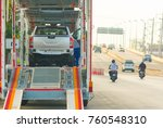car transporter trailer on the... | Shutterstock . vector #760548310