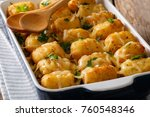 hot baked tater tots with... | Shutterstock . vector #760548346