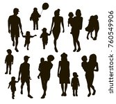 children and parents silhouettes | Shutterstock .eps vector #760549906