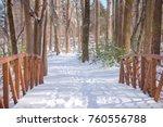 Snowy Bridge  Winter Forest In...