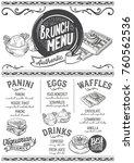 brunch food menu for restaurant ... | Shutterstock .eps vector #760562536