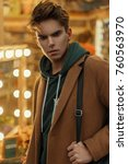 fashionable young man with a... | Shutterstock . vector #760563970