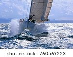 sailboat breaking with the prow ... | Shutterstock . vector #760569223