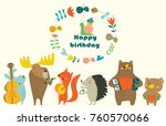 birthday card with cute animals ... | Shutterstock .eps vector #760570066