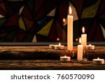 candle on a old oak wooden... | Shutterstock . vector #760570090