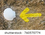 scallop shell and yellow arrow... | Shutterstock . vector #760570774