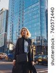 fashionable young woman wearing ... | Shutterstock . vector #760571440