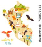 tourist map of peru with... | Shutterstock .eps vector #760579363