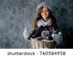 winter fashion accessories... | Shutterstock . vector #760584958