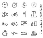 thin line icon set   clock ... | Shutterstock .eps vector #760586530