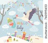 stork bird with baby | Shutterstock .eps vector #760595653