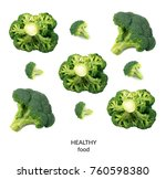 broccoli florets isolated on... | Shutterstock . vector #760598380