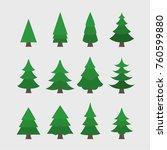 christmas tree set | Shutterstock .eps vector #760599880