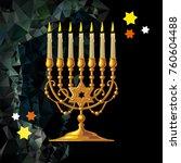 golden menorah on a mosaic...   Shutterstock .eps vector #760604488