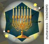 golden menorah on a mosaic...   Shutterstock .eps vector #760604890