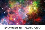 colorful nebulas  galaxies and... | Shutterstock . vector #760607290