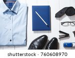 fashion set of businessman... | Shutterstock . vector #760608970