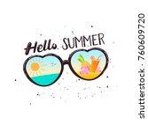 heart shaped sunglasses... | Shutterstock . vector #760609720