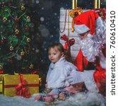 santa and cute toddler girl... | Shutterstock . vector #760610410
