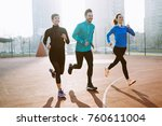 friends fitness training... | Shutterstock . vector #760611004