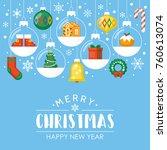 christmas flat style background ... | Shutterstock .eps vector #760613074