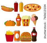 set of colorful cartoon fast... | Shutterstock .eps vector #760613104