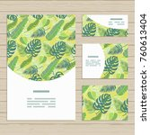set of cards on tropical jungle ... | Shutterstock .eps vector #760613404