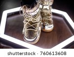 fashion moon boots. trendy shoes | Shutterstock . vector #760613608