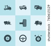 Set Of 9 Truck Filled Icons...