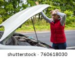 young girl with a broken car... | Shutterstock . vector #760618030