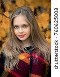 autumn portrait of a beautiful... | Shutterstock . vector #760625008
