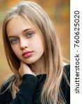 autumn portrait of a beautiful... | Shutterstock . vector #760625020