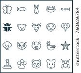 zoology icons set with night