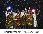 new 2018 year is coming  group... | Shutterstock . vector #760629250