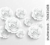 paper flower. white roses cut... | Shutterstock .eps vector #760631608