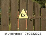the ex sign is attached to the... | Shutterstock . vector #760632328