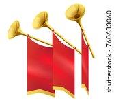 three musical golden trumpet...   Shutterstock . vector #760633060
