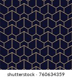 Stock vector abstract geometric pattern with lines a seamless vector background blue black and gold texture 760634359