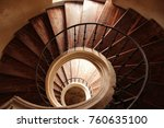 old wooden spiral staircase in... | Shutterstock . vector #760635100