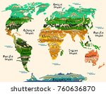 dinosaurs map of the world for... | Shutterstock .eps vector #760636870