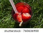 strawberries alcoholic drink   | Shutterstock . vector #760636900