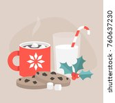 christmas snacks  chocolate... | Shutterstock .eps vector #760637230