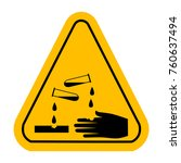 corrosive  sign.  yellow... | Shutterstock . vector #760637494